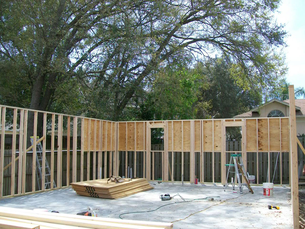 The foundation is complete and level plus the walls are in progress.