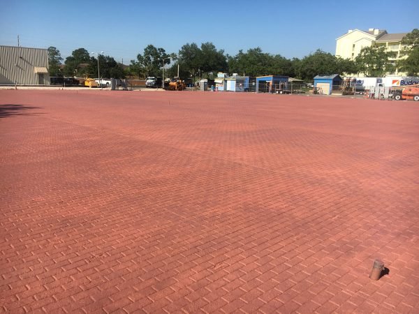 Photo of stamped concrete parkeing lost at Old Town Theme Park by CAM Contracting of Orlando